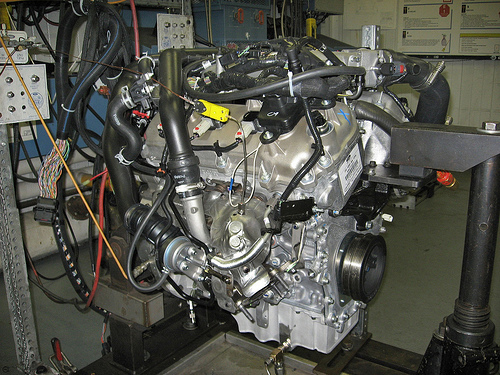Ecoboost 3.5 on a test stand. Photo courtesy Ford Motor Co.