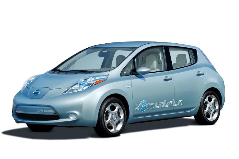 This is one of two Nissan Leafs in existance. It's a nice little 5 seat 4 door car. Without the stickers or the funny charge door, you'd never know it's an electric! Photo by Nissan.