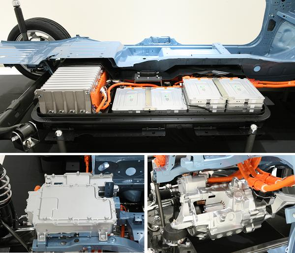 Nissan Leaf batteries (top) converter (lower left) and motor (lower right). Photo from Nissan.
