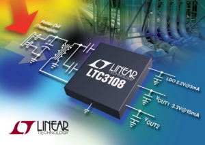The Linear LTC3108 is a very low input (down to 20 mV) DC/DC converter. It can be used to charge capacitors or batteries from low power energy harvesting devices. Image from Linear Technologies.